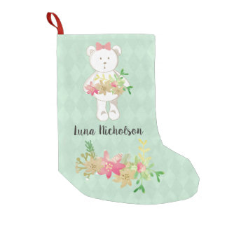 White Teddy Bear Pink Gold Poinsettia Floral Small Christmas Stocking