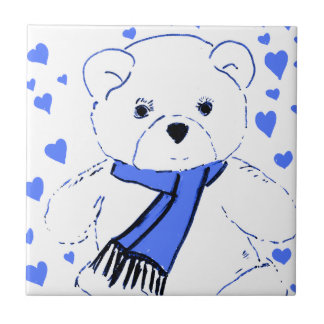 White Teddy Bear with Bright Blue Hearts Ceramic Tiles