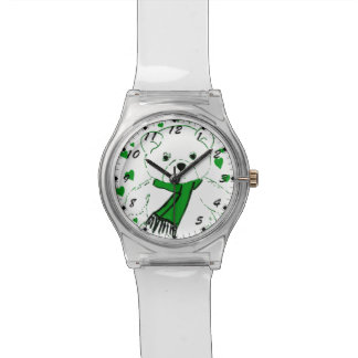 White Teddy Bear with Bright Green Heats Watch