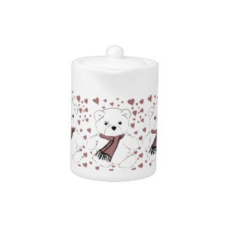 White Teddy Bear with Cranberry Red Hearts