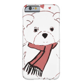 White Teddy Bear with Dusky Red Hearts Barely There iPhone 6 Case