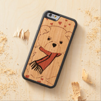 White Teddy Bear with Dusky Red Hearts Carved Cherry iPhone 6 Bumper Case