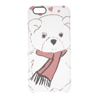 White Teddy Bear with Dusky Red Hearts Clear iPhone 6/6S Case
