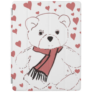 White Teddy Bear with Dusky Red Hearts iPad Cover