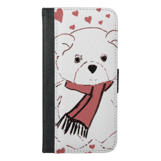 White Teddy Bear with Dusky Red Hearts iPhone 6/6s Plus Wallet Case