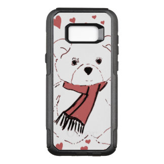 White Teddy Bear with Dusky Red Hearts OtterBox Commuter Samsung Galaxy S8+ Case