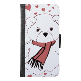 White Teddy Bear with Dusky Red Hearts Samsung Galaxy S6 Wallet Case
