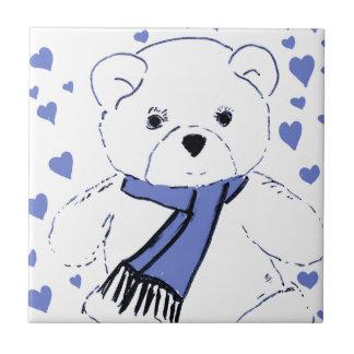 White Teddy Bear with Light Blue Hearts Tiles