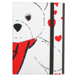White Teddy Bear with Red Hearts Cover For iPad Air