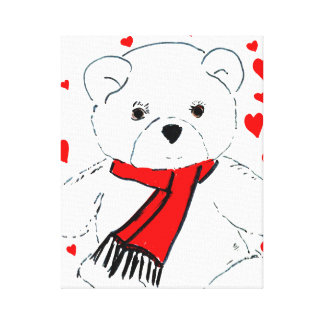 White Teddy Bear with Red Hearts Stretched Canvas Print