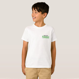 White tee shirt green lettering with face