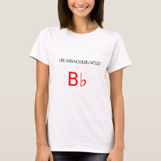 """White tee with """"Bb"""" (flat) red logo."""