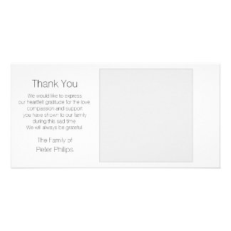 White Template Sympathy Thank you with Gray Border Customized Photo Card