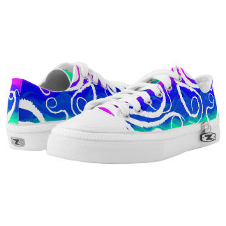 White Tentacles Pink To Green - Low Top Sneakers