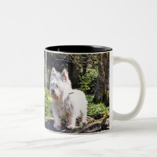 White Terrier Nature Walk Two-Tone Coffee Mug