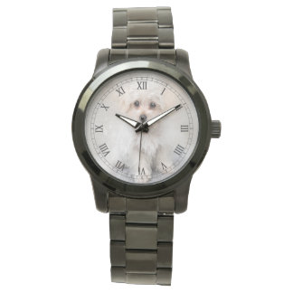 White Terrier Puppy Watercolor Roman Numerals Watch