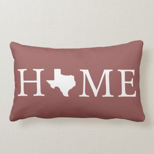 White Texas State HOME Lumbar Throw Pillow
