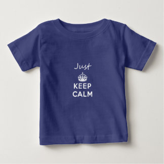 White Text Just Keep Calm Baby T-Shirt