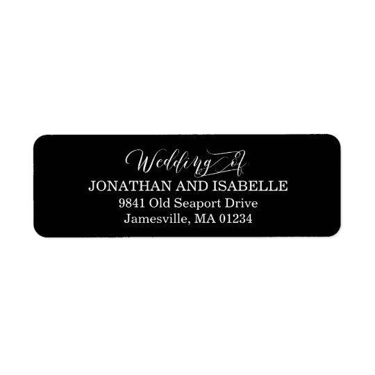 White Text on Black Wedding Return Address Labels