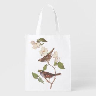 White-Throated Sparrow Audubon Bird in Dogwood Grocery Bags
