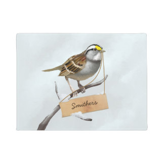 White throated sparrow customize family name doormat