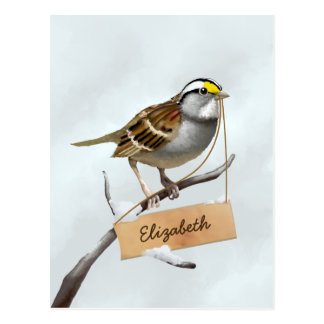 White Throated Sparrow Customize Name Postcard