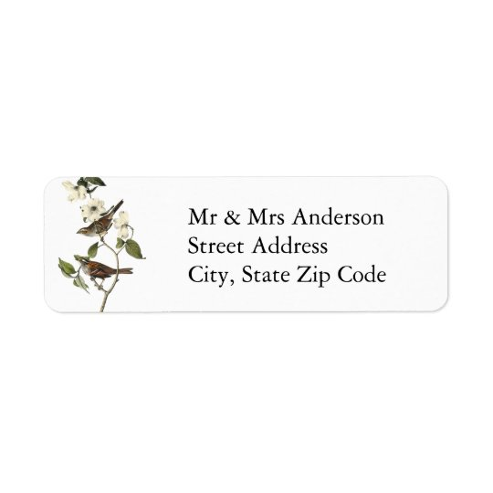 White-throated Sparrow - John Audubon Return Address Label