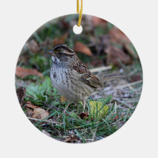 White-throated Sparrow Round Ceramic Ornament