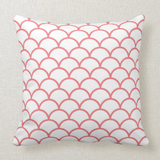 White Throw Pillow with coral scallops
