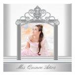White Tiara White Photo Sweet Quinceanera Custom Announcement
