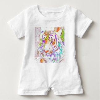 White tiger baby romper
