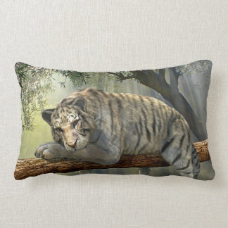 White tiger chilling in the jungle pillow