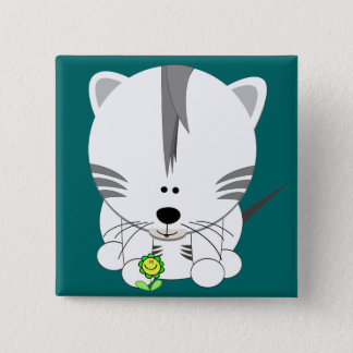 White Tiger Cub 2 Inch Square Button