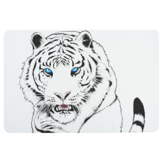 White Tiger Drawing Floor Mat