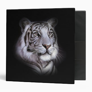 White Tiger Face 3 Ring Binders