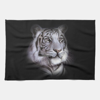 White Tiger Face Kitchen Towel