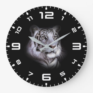 White Tiger Face Large Clock