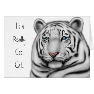 White Tiger Happy Birthday Card