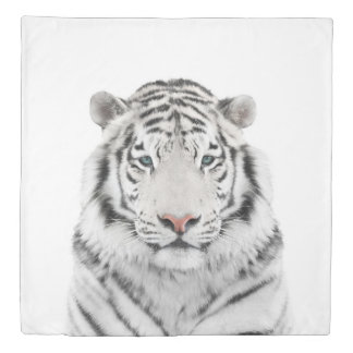 White Tiger Head (2 sides) Queen Duvet Cover