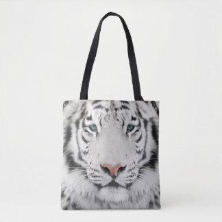 White Tiger Head All-Over-Print Tote Bag