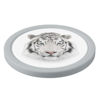 White Tiger Head Clay Poker Chips