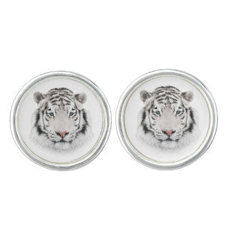 White Tiger Head Cufflinks