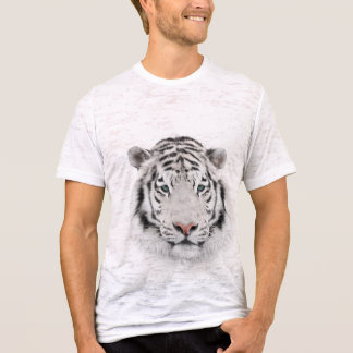 White Tiger Head Fitted Burnout T-Shirt