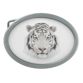 White Tiger Head Oval Belt Buckle
