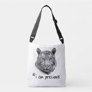 White Tiger i am precious Crossbody Bag