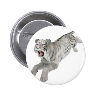 White Tiger Leaping 2 Inch Round Button