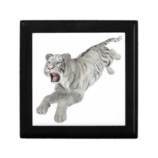 White Tiger Leaping Keepsake Box
