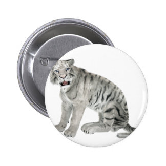 White Tiger Looking to the Front 2 Inch Round Button