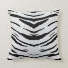 White Tiger or Zebra Striped Throw Pillow