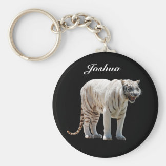 White Tiger Personalized Keychain